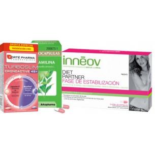 Pack ahorro TurboSlim cronoactive FORTE 45+, Inneov Diet Partner Estabilización y Camilina