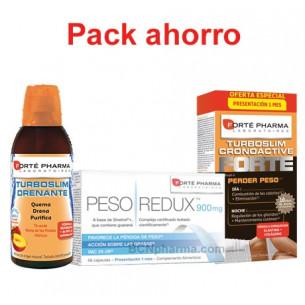 Pack ahorro Turboslim Drenante + Pesoredux + Turboslim Cronoactive FORTE de Forte Pharma