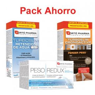 Pack ahorro Turboslim Retención agua + PESOredux + Turboslim cronoactive FORTE