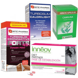 Pack ahorro TurboSlim Cronoactive FORTE +45 + Inneov Diet Partner Estabilización + Calorilight 60 cápsulas + Camilina