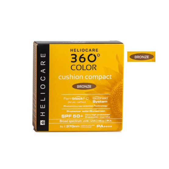 Heliocare 360 ° Color Cushion Compact SPF 50+ Sunscreen, Bronze Tone