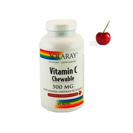 Solaray VITAMINA C-500 sabor cereza 100 comprimidos masticables