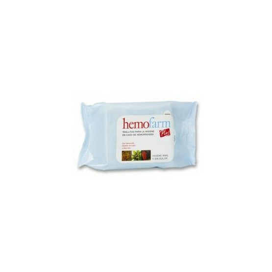 Hemofarm Plus calma limpia sin irritar las hemorroides 40 toallitas húmedas